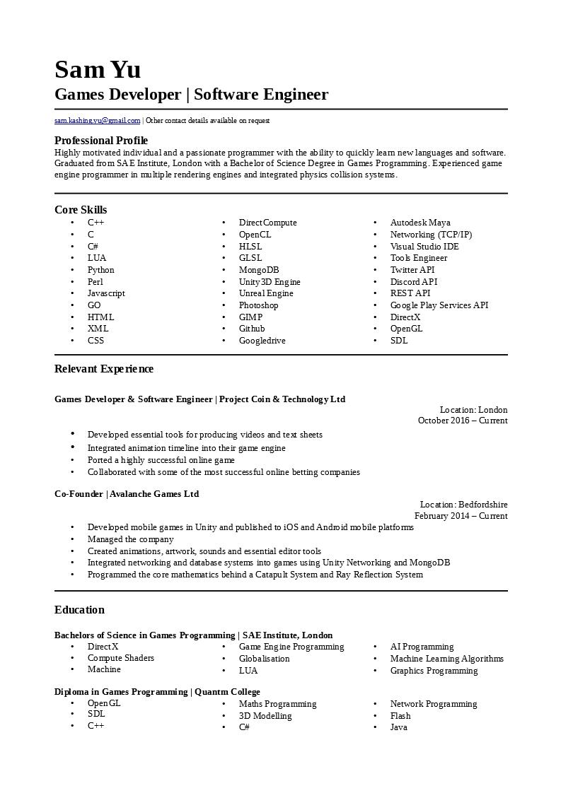 game programmer resumes